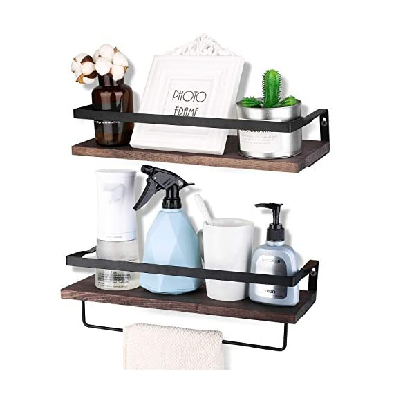 Awekris Rustic Wood Wall Storage Shelves Set of 2, Floating Shelves Wall Mounted, Wall Decorative Shelf Display Storage Rack for Living Room, Kitchen, Bathroom, and Bedroom - Functional and Decorative Storage Shelves: Features rustic style with torched finish wood and industrial metal brackets, decorative and great addition or accent to any wall space of bedroom, bathroom, kitchen and more. Sturdy and easy to install: Floating shelves constructed of high quality wood boards and industrial matte metal brackets super sturdy and easy to follow instruction to assemble and put up Removable Towel Holder: The decorative wall shelves has a separate towel holder could install under the floating shelf or installed to a wall. Install as needed. - wall-shelves, living-room-furniture, living-room - 41UktaS7mbL. SS570  -