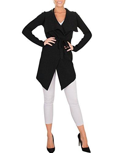 Glamaker Women's Open Front Knit Cardigan Coat Long Sleeves Sweater with Belt Black