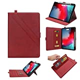 Case for The iPad Pro 12.9 Case 2018 3rd Generation,【Built-in Apple Pencil Charging】Luxury Multifunction Business PU Leather Magnetic Case for Men Women, with Card Slot Strap for iPad Pro 12.9(Red)