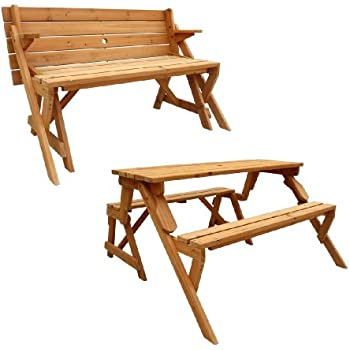 Charmant Leisure Season Folding Picnic Table And Bench, Solid Wood, Decay Resistant