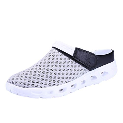(ANJUNIE Men Gradient Color Mesh Breathable Slippers Beach Sandals Hole SportsShoes Clog with Upper Ventilation(Gray,42))