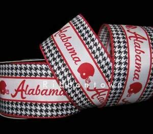 10 Yards Alabama Football Helmet Red Black Houndstooth Wired Ribbon 2 1/2