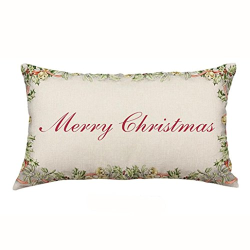 Hot Sale!! Auwer Christmas Rectangle Cotton Linter Pillow Case Cushion Cover Waist Throw Durable Decorative For Sofa,Bed,Chair,Auto Seat,Home Decor Festival Gift Pillowcase (C) ()