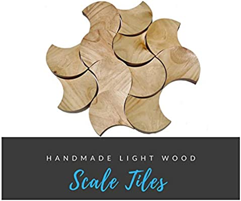 Create Your own 3D Wall Art Design Adds a Unique Touch Modern Decoration to Any Environment in Your Home Made Real Wood. Handmade Wooden 3D Scale Tiles 12 Piece Set