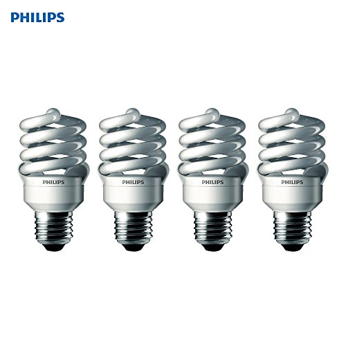 Philips T2 Spiral CFL Light Bulb: 6500K, 100-Watt, Daylight, E26 Medium Screw Base, 4 Pack 100 Watt Medium Based Bulb