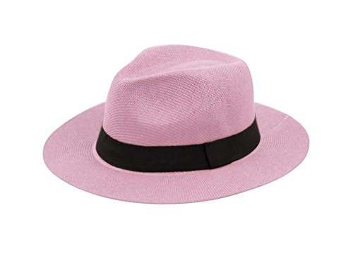 - Wide Brim Paper Straw Fedora, Classic C Crown Panama Sun Hat with Grosgrain Band and Adjustable Drawstring (One Size Fits Most) (Lavender)