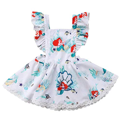 Baby Girls Mermaid Rompers,Strap Ruffle Sleeves Backless Bodysuit Summer Outfits Clothes Set Headband -