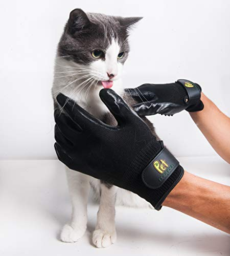Pet Magasin Pet Grooming Gloves [One Complete Pair for Both Hands] – Shedding & Bathing Mitt for Dogs, Cats, Horses & Other Animals with Both Long and Short Fur by Pet Magasin