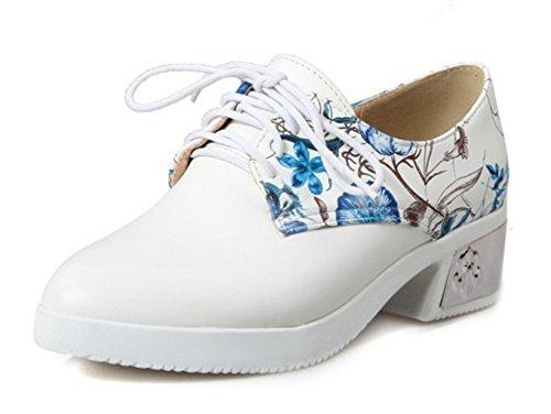 Aisun Damen Rund Verschleißfest Mittel Absatz Prints Blumen Schnürhalbschuhe Blau