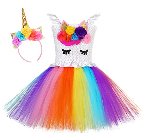 Tutu Dreams Rainbow Unicorn Dress Girls Birthday Tutu Outfit Christmas Halloween (Flower, Medium) -