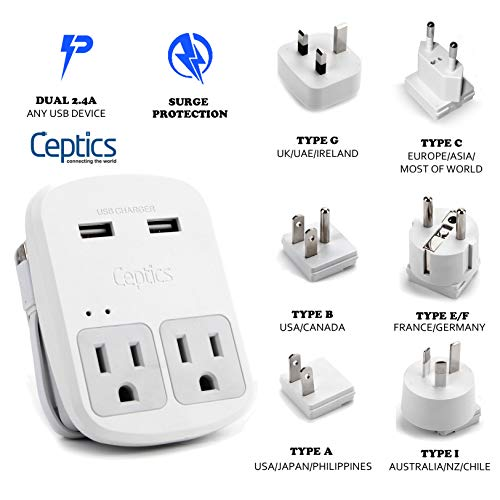 (World Travel Adapter Kit by Ceptics - Dual USB + 2 US Outlets, Surge Protection, Plugs for Europe, UK, China, Australia, Japan - Perfect for Laptop, Cell Phones, Cameras - Safe ETL Tested (WPS-2B+))
