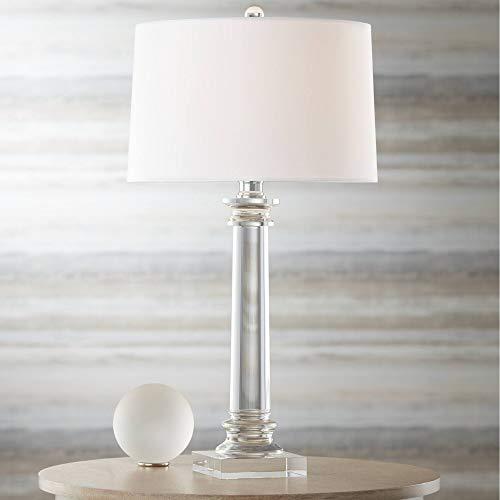 (Modern Table Lamp Crystal Column Geneva White Drum Shade for Living Room Family Bedroom Bedside Nightstand - Vienna Full Spectrum)