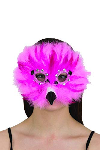 Fun and Tacky Felt Flamingo Carnival Mask w/Feathers & Rhinestones ()