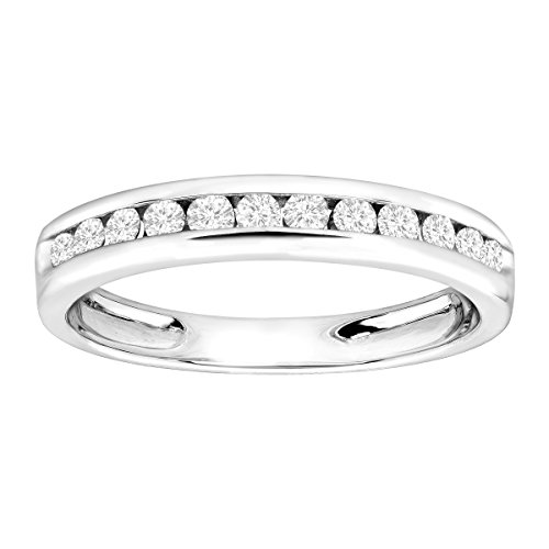3/8 ct Diamond Anniversary Band Ring in Sterling Silver Size 7 by Finecraft