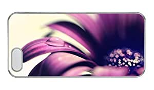 Customized iphone 5 covers amazing Purple flower petals close up water drop PC Transparent for Apple iPhone 5/5S