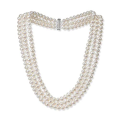 7mm 3 Strand White Freshwater Cultured High Luster Pearl Necklace Jewelry for Women 18'' ()
