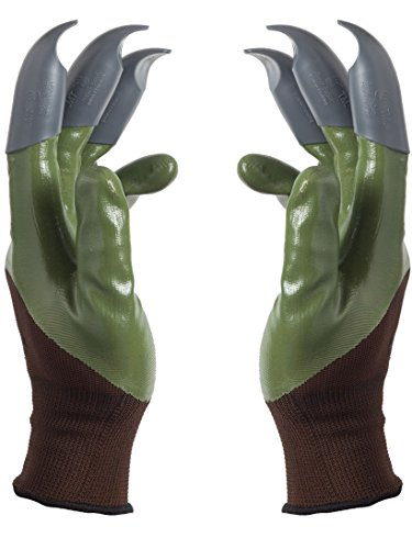 Honey Badger Garden Gloves for Digging & Planting No More Worn Out Fingertips Unisex Claws On Both Hands Olive Green & Gray Claws Patent - Gardening