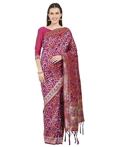 Viva N Diva Sarees for Women's Banarasi Kanjivaram Silk Magenta Zari Woven Saree with Un-Stiched Blouse Piece,Free Size