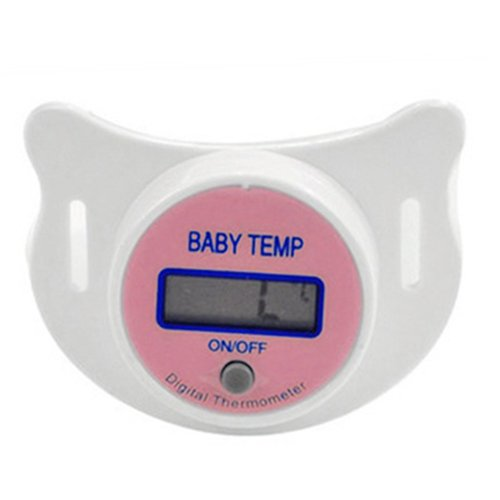 TOOGOO(R) Infants LED Pacifier Thermometer Baby Health Safety Temperature Monitor Kids Display Centigrade Pink