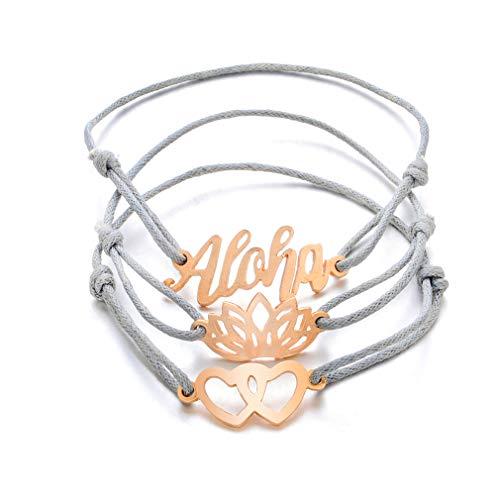 DearAnswer 3PCS Hollow Lotus Heart Hawaiian Aloha Braided Rope Bracelet Set Handmade Waterproof Wrap Bangles for Women
