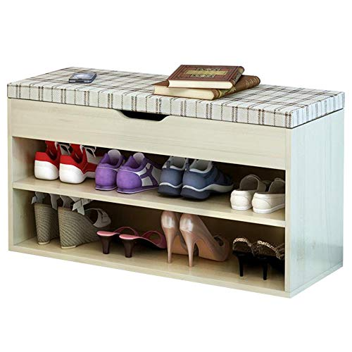 - FKUO Shoe Rack Bench Double-Layer Storage Cabinet,Shoe Organizer,Storage Shelf,Holds Up to 150KG,Ideal for Entryway Hallway Bathroom Living Room and Corridor(80cm, Sakura Maple Square A)