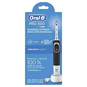 Oral-B Pro 500 Electric Power Rechargeable Toothbrush with Automatic Timer and Precision Clean Brush Head, Powered by Braun (Product Design & Packaging May Vary)