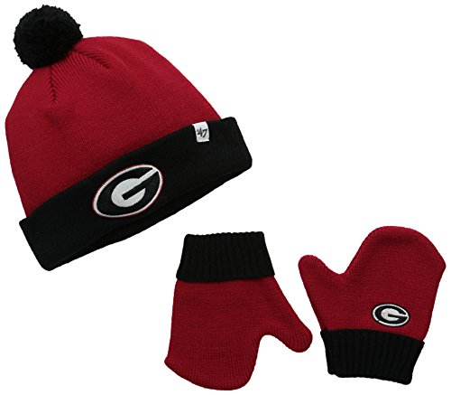 NCAA Georgia Bulldogs Infant '47 Bam Bam Knit Hat and Mittens Set, (Over Logo Infant Beanie)