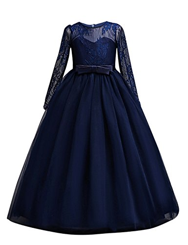 DOCHEER Fancy Girls Dress Tulle Lace Wedding Bridesmaid Ball Gown Floor Length Dresses for 4-14 Years (1022 Navy, 7-8 Years) -
