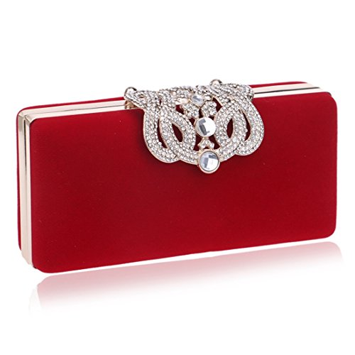 Crossbody La Haxibkena Red De Red color Embrague Mujeres Bolso Diamante Las Negro Corona Del Hombro fwtq1wp