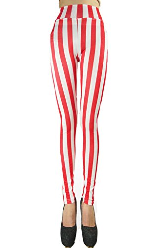 [Ouye Women's Ankle Length Vertical Striped Stretchy Leggings White Red] (Popcorn Costume)