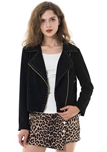 Apperloth Jackets for Women Cool Studded Asymmetric Zip Snake-Skin Perfect Suede Leather Moto Biker Coat
