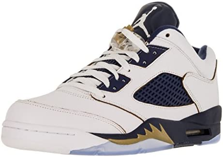 435dee946b62e0 AIR JORDAN 5 RETRO LOW Mens sneakers 819171-135 WHITE METALLIC GOLD STAR-MID  NAVY 11.5 D(M) US  Buy Online at Low Prices in India - Amazon.in