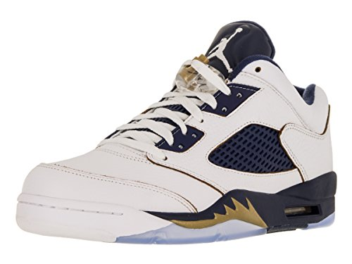 Nike Air 5 Retro bassa scarpa da basket White/Mtlc Gold Star/Mid Navy