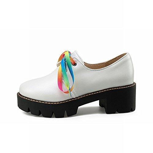 Fascino Del Piede Delle Donne Di Moda Colorato Lace Up Robusto Piattaforma Oxford Scarpe Bianche