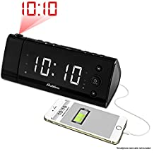 """Electrohome® USB Charging Alarm Clock Radio with Time Projection, Battery Backup, Auto Time Set, Dual Alarm, 1.2"""" LED Display for Smartphones & Tablets (EAAC475W) …"""