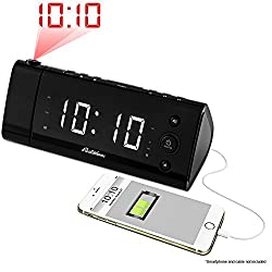 Electrohome USB Charging Alarm Clock Radio with Time Projection, Battery Backup, Auto Time Set, Dual Alarm, 1.2 LED Display for Smartphones & Tablets (EAAC475W)…
