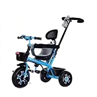 Kids tricycle With push Bar Ride On Tricycle Bike blue