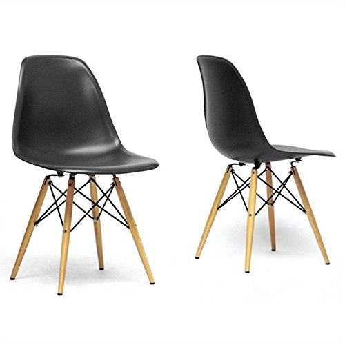 Cheap Baxton Studio Azzo Shell Dining Chair in Black (Set of 2)