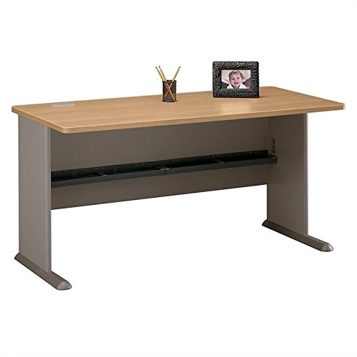 Bush Business Furniture Series A 60W Desk in Light Oak and Sage -