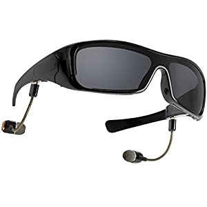 Forestfish Black Wireless Bluetooth Sunglasses with Removable Mic Receiving Call Stereo Headset Music Player Sunglasses UV400 for Smart Phones or Bluetooth Function PC Tablets