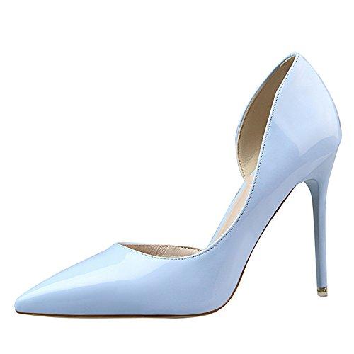 Haut Talon Vernis Côté Bleu Pointu Aiguille Escarpin Sexy Eté Femme Ouvert Ciel Bout Chaussures OALEEN TPUpwq5