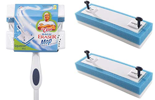 (Mr. Clean 446642 Magic Eraser Squeeze Mop + 2 Mop Head Refills Included)