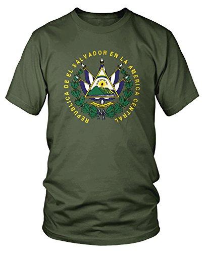 Amdesco Men's El Salvador Coat of Arms T-Shirt, Moss Green -