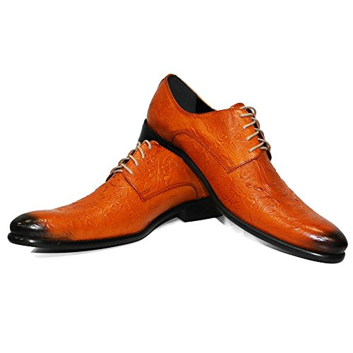 PeppeShoes Modello Vigouro - Handmade Italiennes Cuir Pour des Hommes Orange Chaussures Oxfords - Cuir de Vachette Cuir Gaufré - Lacer SQgkCY1