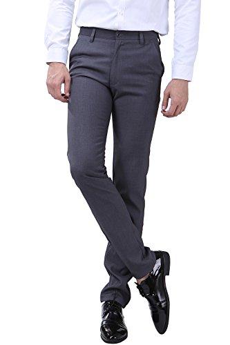 FLY HAWK Mens Separate Suit Pants, Solid Slim Fit Flat Front Dress Pants