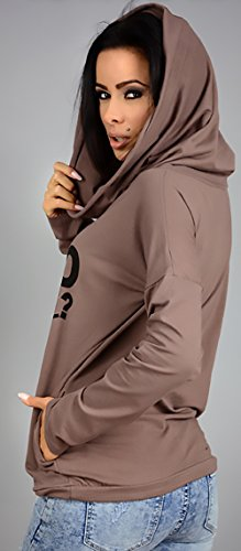 Sweatshirt Pullover Donna Giovane cachi Tasche Hoodies Moda Sportiva Con Hoody Felpe Sciolto Cappuccio Elegante Felpa Lettera Lunghe Autunno Stampati Maniche Aq0wdBAv6n