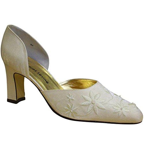 Jacques Levine Womens Betsy Elegant Satin Shoes Ivory Shimmer PYAQ86P