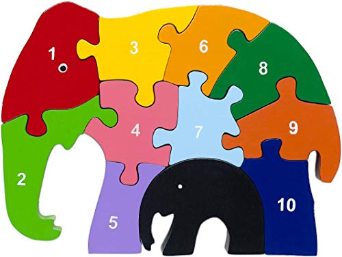 Red Fish Toys Wooden Numbers Puzzle - Elephant ()