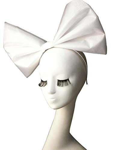 Anogol Huge Large Women's Bow Hair Bands Headdress Party Props Headband Hair Accessories for Cosplay Halloween White Bowknot]()