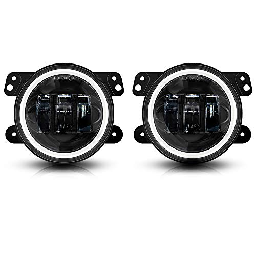 Galvor 4 Inch LED Fog Lights For Jeep Wrangler 07-18 JK JKU Tj LJ DRL White Halo Ring Amber Turn Signal Lights Round Black -Pair